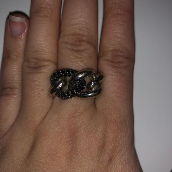 41110a1429dbd Black and Silver Swarovski Crystal Knot Ring